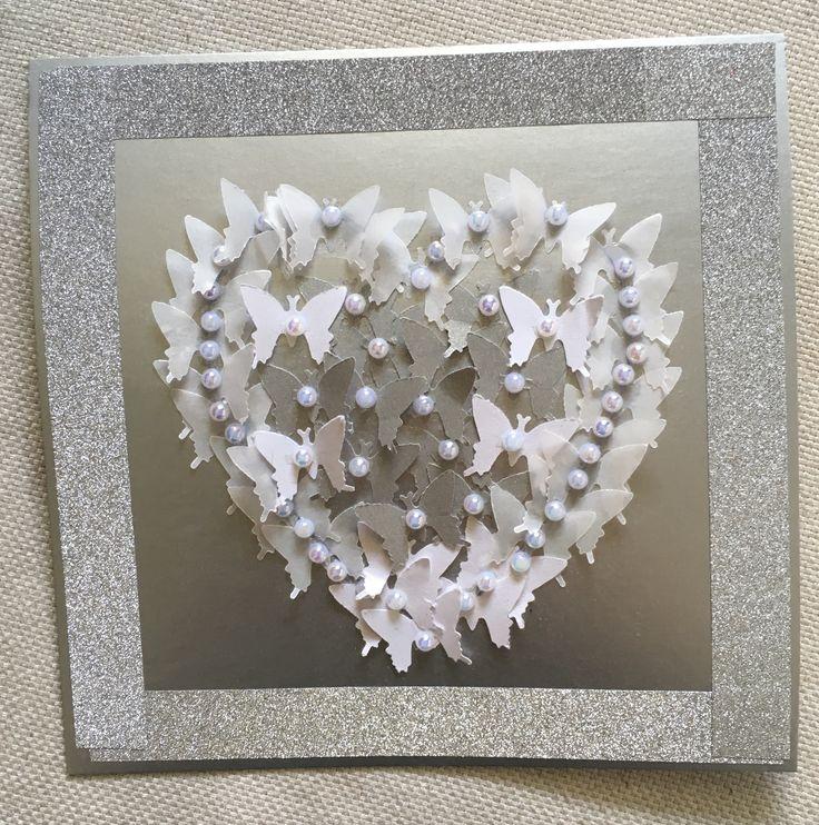 Hää kortti häät diy perhoset sydän helmet hopea washi teippi koristeteippi  Wedding card butterfly heart beads silver washi tape 2017