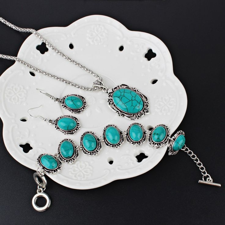 Cheap Hollow Sliver Green Rimous Oval Turquoise Collar Earrings Online   Tomtop  #women #fashion #jewelry