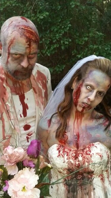 Zombie bride and groom for Halloween! One of my favorite costumes we have done…