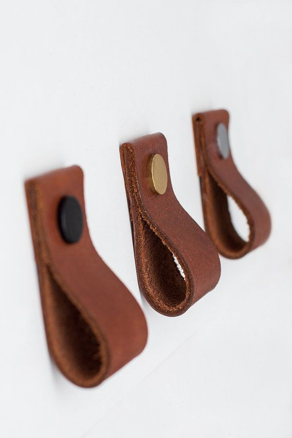 Leather Pulls / Leather Handles / Leather Cabinet by Rowzec