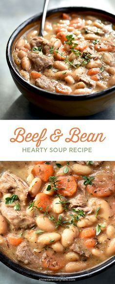 Warm up to a bowl of this hearty Beef and Bean Soup. #soup #recipe shewearsmanyhats.com