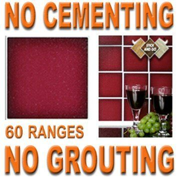 CARMINE RED: Box of 18 tiles 4x4 SOLID PEEL & STICK ON TILES apply over tiles or onto the wall ! by STICK AND GO TILES. $19.99. No Cementing. 18 tiles per box. No Grouting. Covers 2 Sq.Ft. (0.2) per box. STICK AND GO TILES are self adhesive wall tiles that look and feel just like ceramic tiles - but there is NO CEMENTING & NO GROUTING required ! Stick and Go tiles aren't just for walls, they can be used on any flat, clean surface and are perfect for tiling any area...