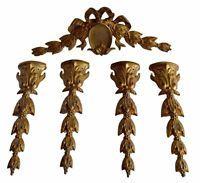 French Antique Louis XVI 5 Gilt Bronze Salvage Furniture Ornament Pediment