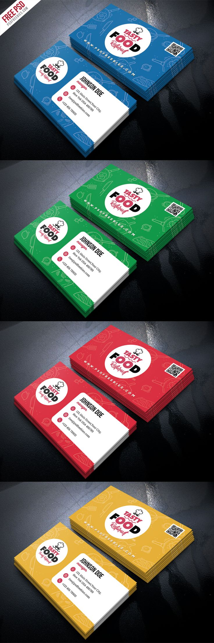 Download Restaurant Business Card Free PSD Bundle. This Restaurant Business Card Free PSD Bundle is perfect for any kind of food industry like a restaurant, bar, hotel, cafe shop etc. This Restaurant Business Card is designed and created in adobe Photoshop. This Freebie Included with 4 different color options.