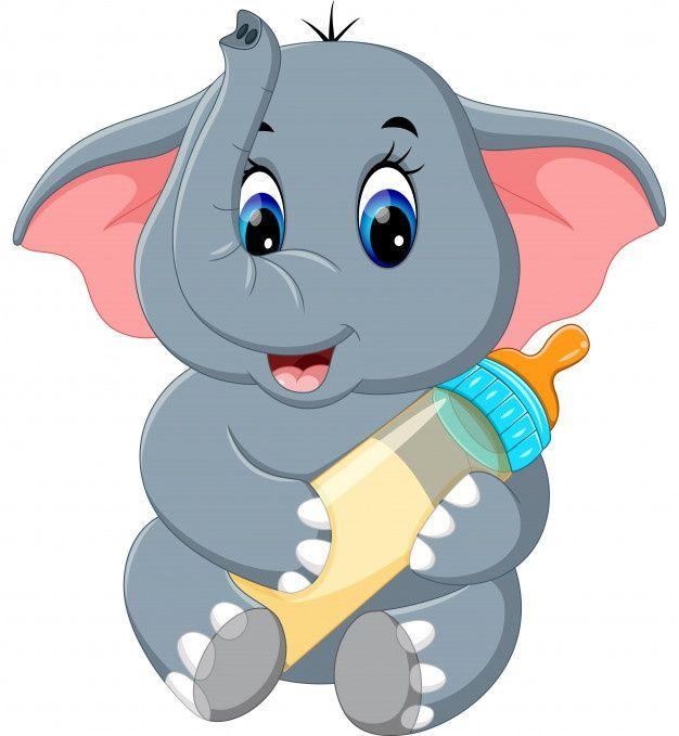 Baby Elephant Holding Milk Bottle In 2021 Cute Elephant Cartoon Baby Elephant Drawing Baby Elephant Cartoon