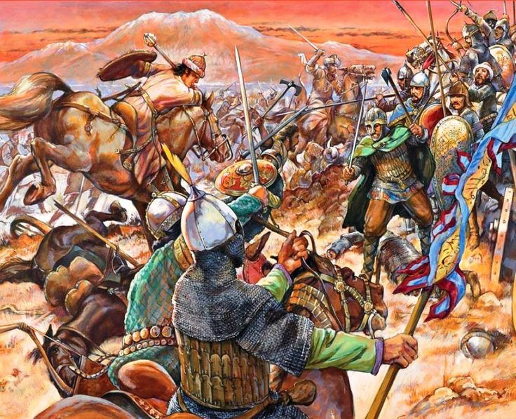 An illustration of The Battle of Manzikert (Turkish: Malazgirt Muharebesi) was fought between the Byzantine Empire and the Seljuq Turks on August 26, 1071. The result was a victory for the Seljuks and led to there conquest of Anatolia.