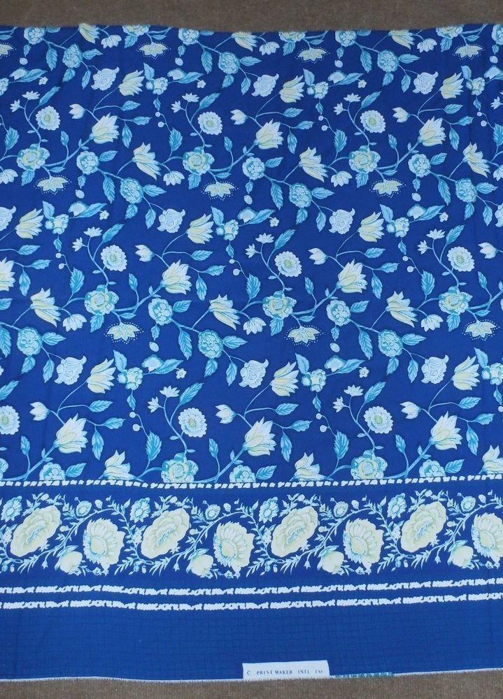 "VINTAGE PRINT MAKER INT. LARGE BLUE & TEAL FLORAL BORDER PRINT FABRIC 192"" X 44"" #PRINTMAKERINT"