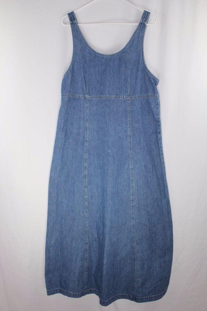 Marsh Landing Blues Womens Jean Denim Jumper Dress Size L 100% Cotton #MarshLandingBlues #Jumper #Casual
