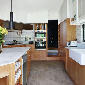 kitchen confidential tiles custom cabinetry oak veneer timber house