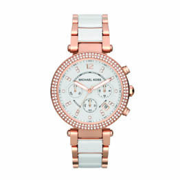 Michael Kors Rose Plated Steel And White Ceramic Round White Dial Chrono Style W/Crystal Set Digits And Bezel 100M Water Resist Watch.