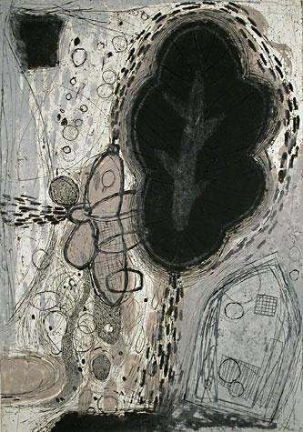 Akiko Taniguchi. The Origin of life 2, 1999. Collagraph. Edition of 5. 30-7/8 x 21-3/4 inches.