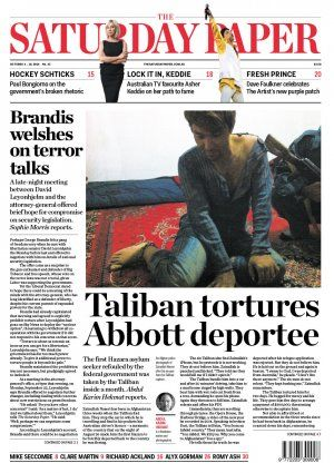Erik Jensen ‏@ErikOJensen  Deported by #Abbott. Tortured by the Taliban. A must read on the refugees we send home: Taliban tortures Abbott government deportee -  The first Hazara asylum seeker refouled by the federal government was taken by the Taliban inside a month.