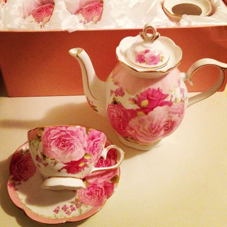 Floral pinks with gold accent set - 6 cups and saucers, matching teapot and sugar bowl