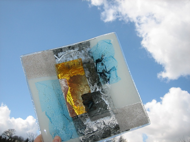 Piece from the 4 elements wind the spirit within glass fusing - Smashing glass coasters ...