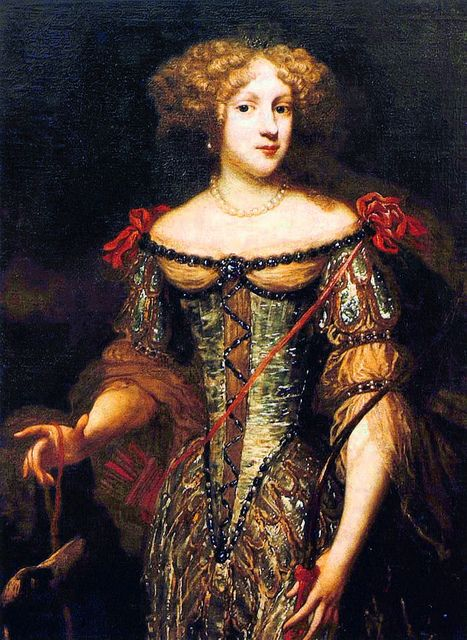 The Princess Palatine Elizabeth Charlotte (1652-1722) was a German princess and, as Madame, the wife of Philippe I, Duke of Orléans, younger brother of Louis XIV of France, and mother of France's ruler during the Regency.