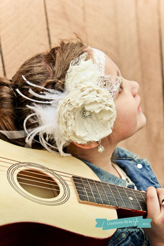 Girl Headband Ivory couture  vintage inspired with by verosjoy, $22.00