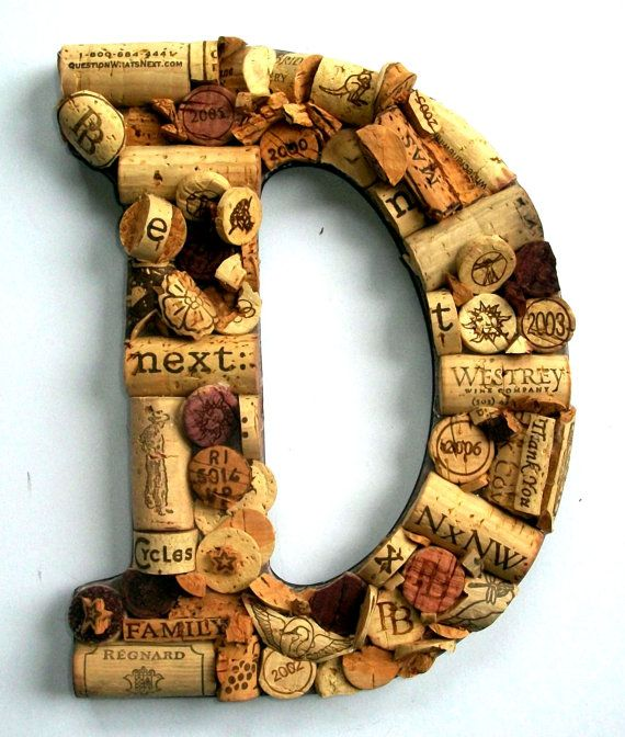 Customized Handmade Vintage Wine Cork Letter - Large Size -  NOTE:  CORK CRAFTS HAVE BEEN MOVED TO   PUT A CORK IN IT!