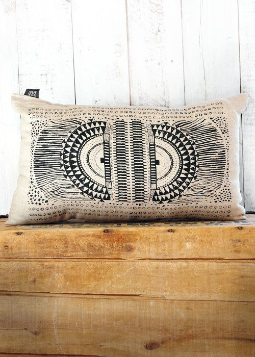 Okapi -  Black and Linen Hand Printed Native Tribal African Print Pillow - by Bark Decor. $40.00, via Etsy.