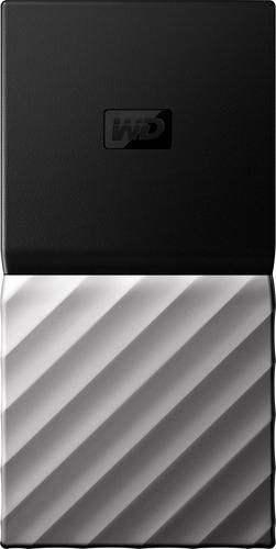 WD - My Passport SSD 1TB External USB 3.1 Gen 2 Portable Hard Drive - Black top / gunmetal (medium metallic gray) bottom - Larger Front