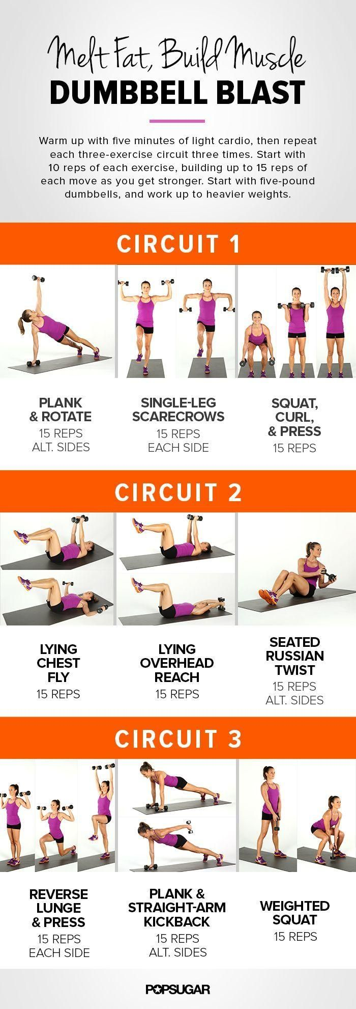 This dumbbell workout circuit will zap fat and build up arm muscles at the same time. Print out this how-to guide and get started!