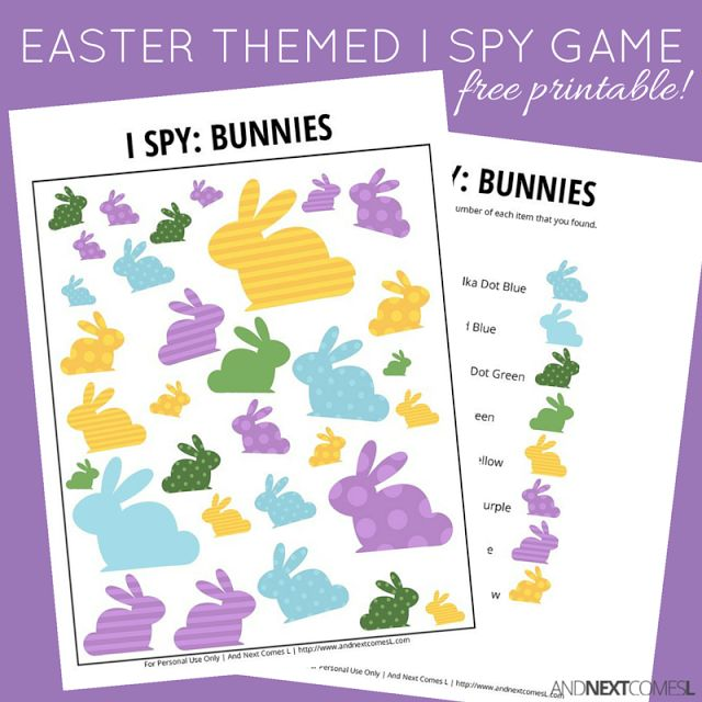 Easter Bunny Themed I Spy Game