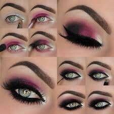 Maquillaje rosa y negro con ojos muy definidos