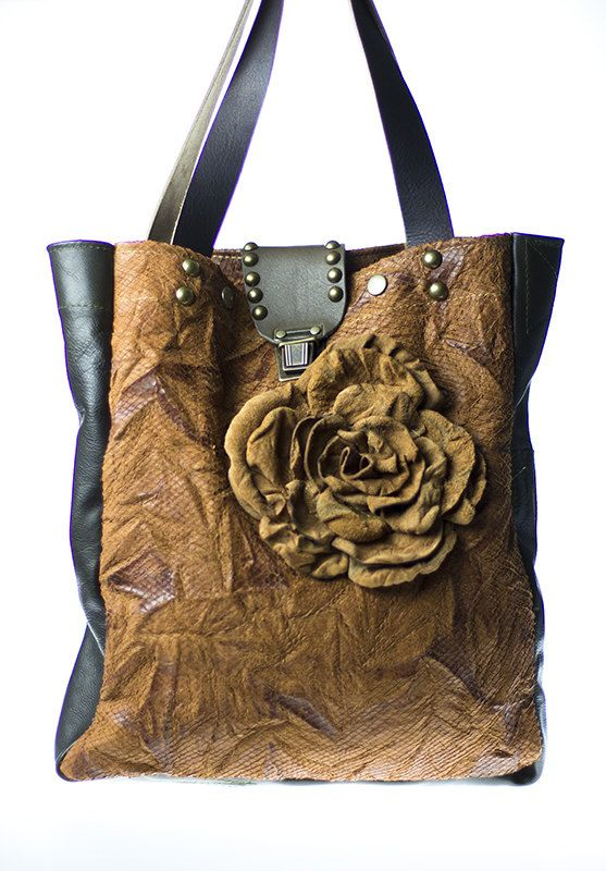 LEATHER TOTE BAG Tan & Dark Olive Green with by NeroliHandbags