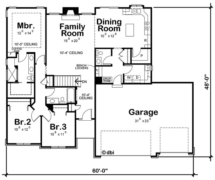 Country Style House Plan - 3 Beds 2.5 Baths 1635 Sq/Ft Plan #20-2192 Floor Plan - Main Floor Plan - Houseplans.com