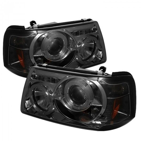 Spyder Auto 444-FR01-1PC-HL-SM | 2002 Ford Ranger Smoke Halo LED Projector Headlights for SUV/Truck/Crossover
