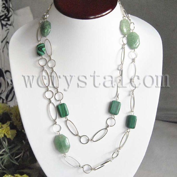 "Malachite Green Aventurine Stone Necklace Link Chain 48"""