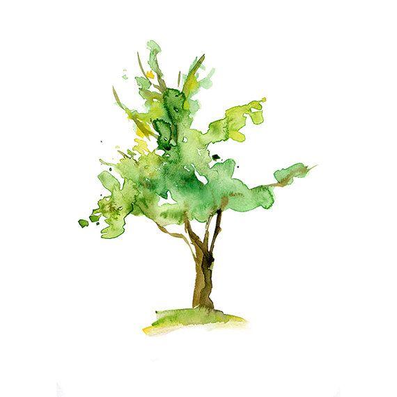 OrigineelBoom Aquarel schilderij. Waterverf boom door Zendrawing, €45.00