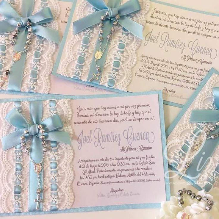 Blue and lace First Communion invites!  For a pretty boy!  / azul y encajes para la Primera Comunión de un hermoso pequeño! /tarjeteria / invitations / baptism / christening / cards