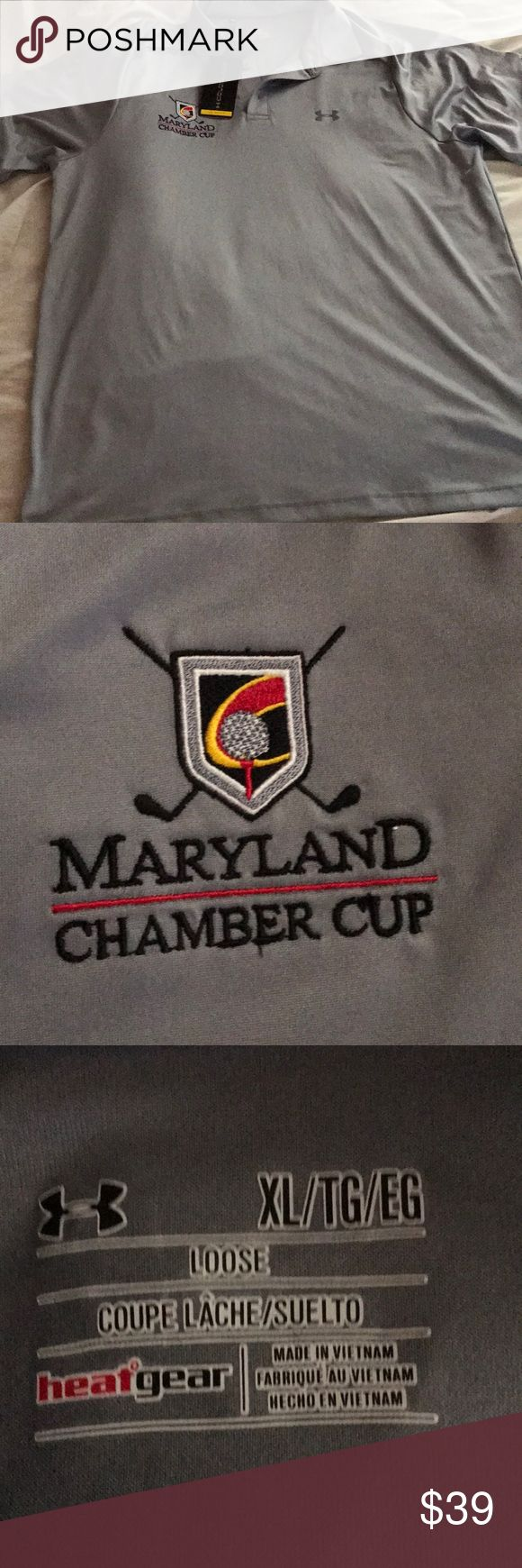 NWT Maryland Chamber Cup Under Armor Golf Tee NWT! Under armor cold black. Loose fit  Under armor uses the cold black technology which reflects the heat of the sun so you feel cooler and comfortable.  Upf 30 93% polyester  7% elastane Under Armour Shirts Polos