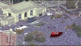 Kansas City Celebrates with their National Champion KC Royals post the Parade through downtown, in front of Union Station.