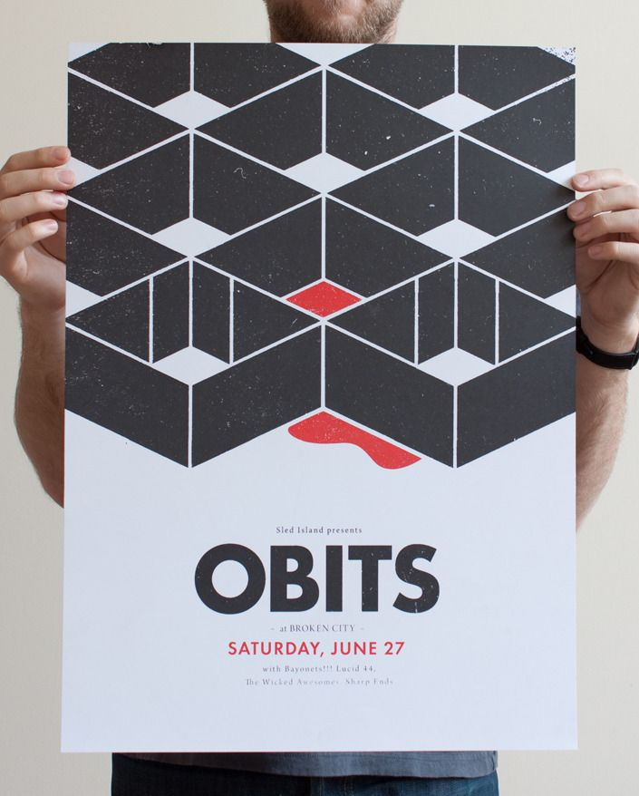 Poster for Obits at Sled Island. Calgary, Alberta, Canada. Justin LaFontaine