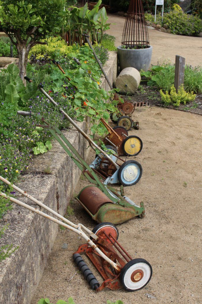 Old push lawn mowers....any one of these gave you a solid workout for the day.