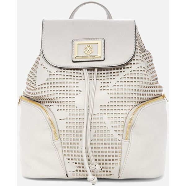Ashley Stewart Christian LaCroix Chloe Backpack (1.410 UYU) ❤ liked on Polyvore featuring bags, backpacks, faux leather backpack, knapsack bag, perforated bags, floral bags and fake leather backpack