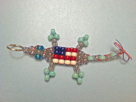 """INSPIRE SOMEONE  Large American Flag """"Lucky Lizard"""" with Multicolor Sparkle & Glow in the Dark Blue Beads - Handcrafted to Enhance Wellness by LuckyLizardStudios, $5.00"""
