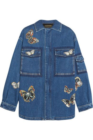 Valentino | Veste en jean stretch à appliqués papillons | NET-A-PORTER.COM