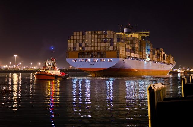 Departure of Marchen Maersk in Los Angeles, CA