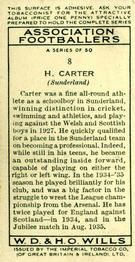 1935-36 W.D. & H.O. Wills Association Footballers #8 Raich Carter  Back