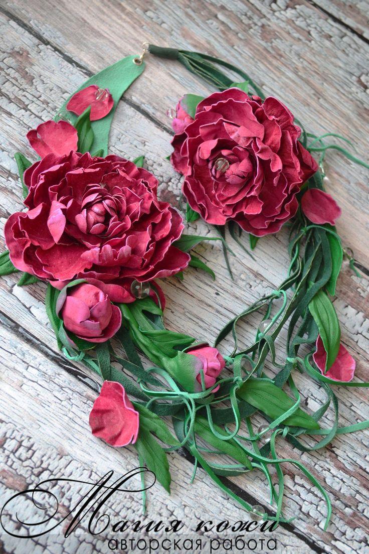"""Купить Комплект из кожи """"Пионы после дождя"""" - фуксия, ярко розовый, розовые пионы"""
