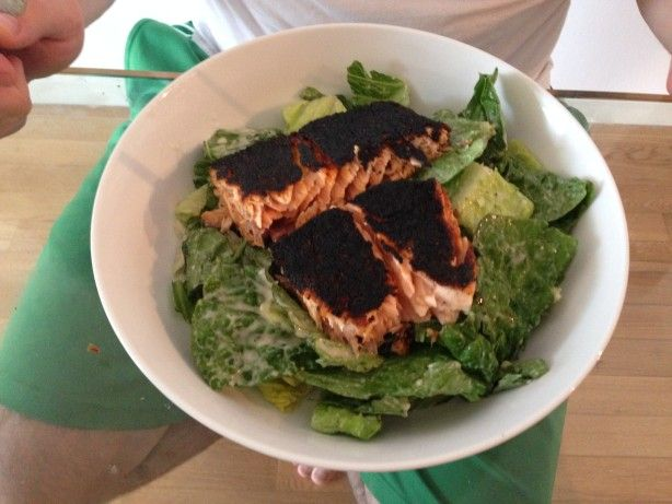 Blackened Salmon Caesar Salad Recipe - Food.com