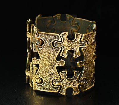 "Pentti Sarpaneva for Turun Hopea ~vintage, modernist ""Puzzle"" bronze bracelet. #Finland"