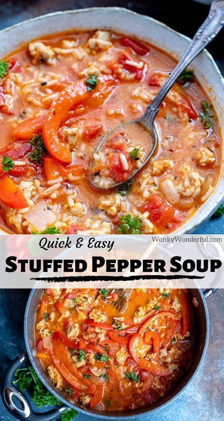 Stuffed Pepper Soup Recipe Wonkywonderful In 2020 Hearty Soup Recipes Stuffed Peppers Bell Pepper Soup