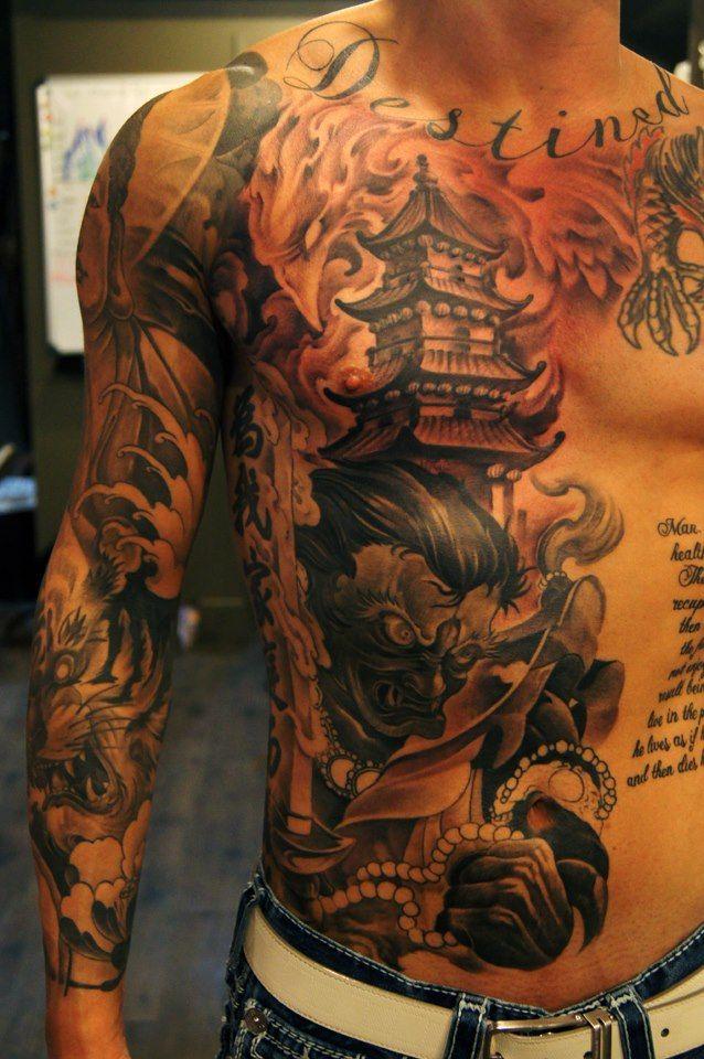 Chest, Ribs and Sleeve Tattoo https://www.facebook.com/TattooGirlsPiercing Chronic Ink Tattoo Shop Toronto.