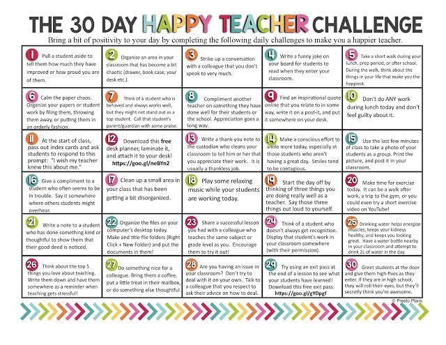 30 day Happy Teacher challenge