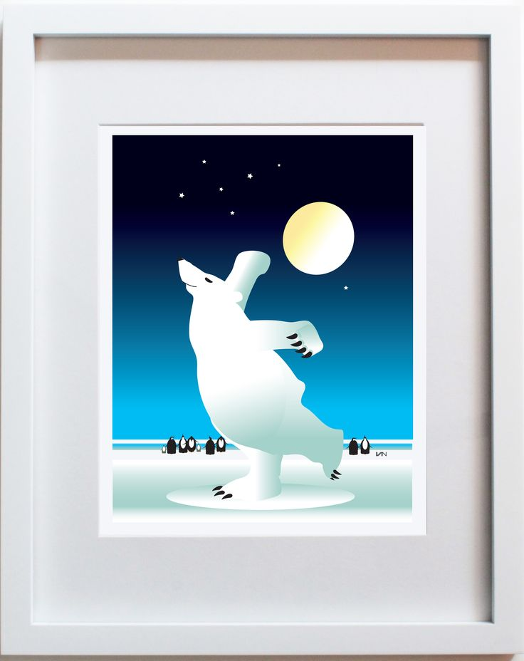 Dancing Polar Bear with Blue Background. Can be personalized. Also available in a smaller 8x10in frame and with a purple background on our website.