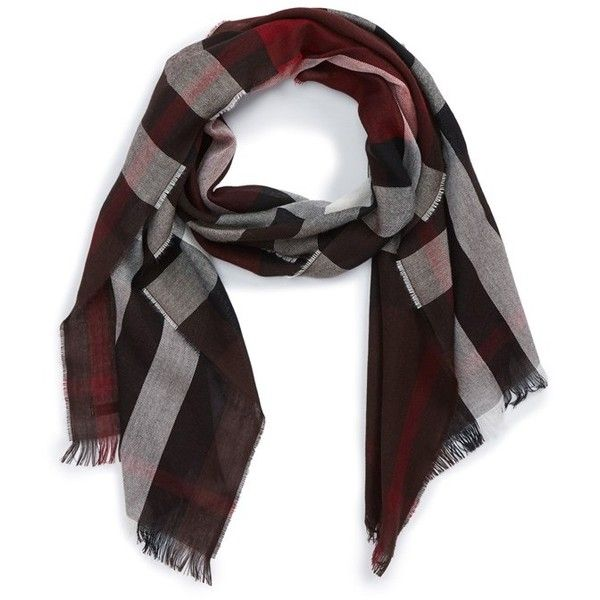 Men's Burberry Check Wool & Cashmere Scarf (€380) ❤ liked on Polyvore featuring men's fashion, men's accessories, men's scarves, claret, mens wool scarves, burberry mens scarves, mens scarves and mens cashmere scarves