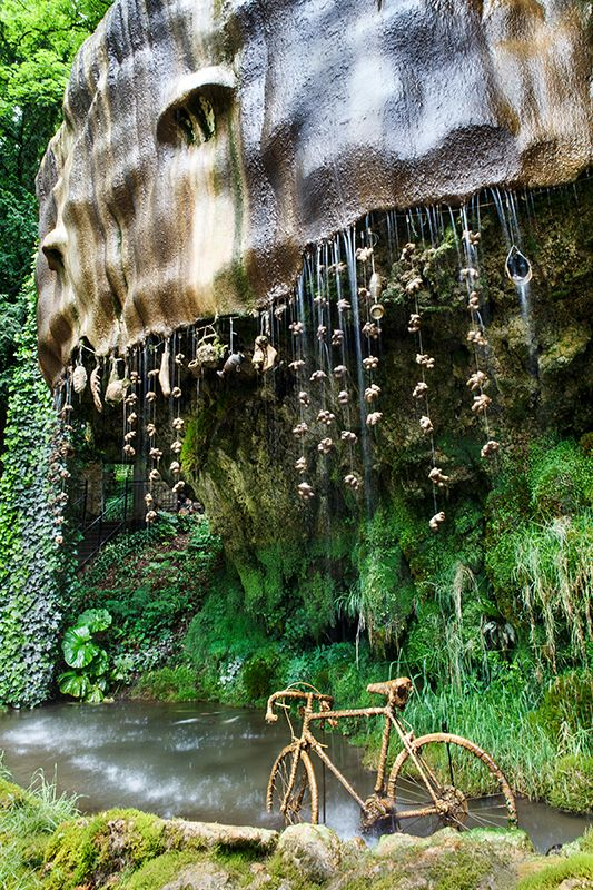 Mother Shipton Cave in Yorkshire, objects hung under flowing water turn to stone.